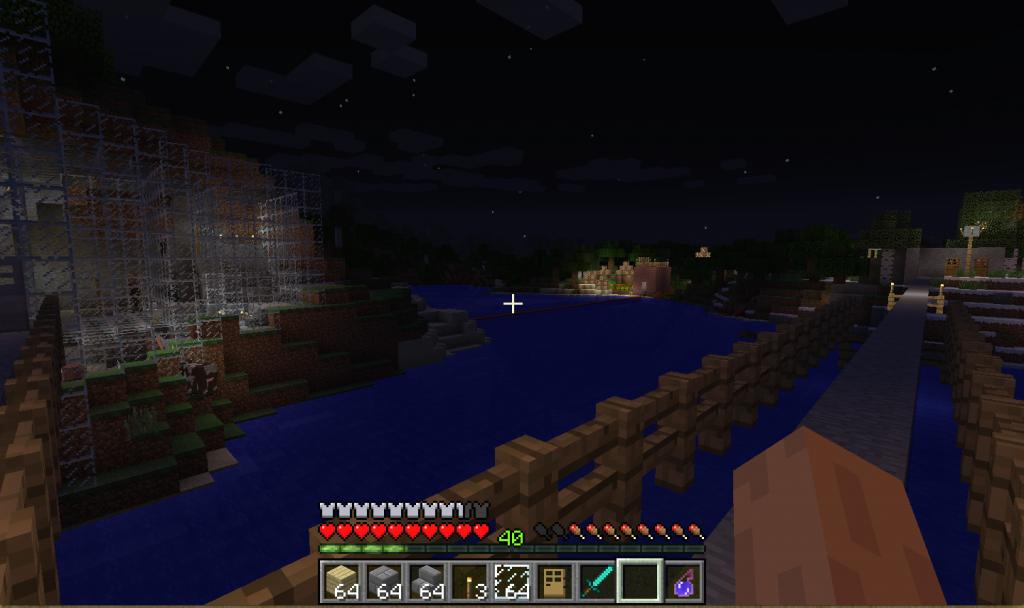 橋から見る農場と村人育成場